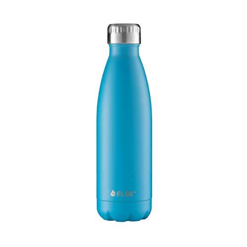 FLSK das Original  Trinkflasche Thermoflasche Isolierflasche hält 18h heiß - 24h kalt (Farbe Caribbean, Grösse 500ml)