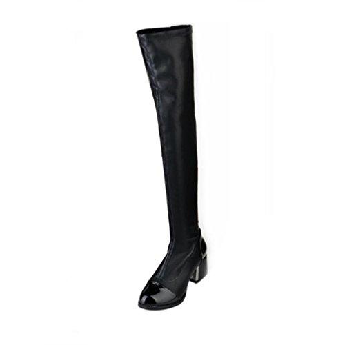 Fulltime®Femmes cuir au-dessus du genou Bottes chaussures à talons hauts