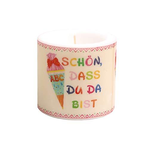 H/öhe 8cm Kerze rund Fu/ßabdr/ücke Baby blau als Tischdeko zur Babyparty und Taufe /Ø 7,5cm