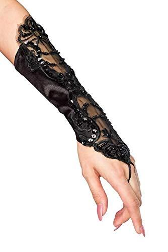 Handstulpen mit Stickerei und Perlen schwarz Hochzeit Braut Handschuhe Fingerlos (Schwarz Spitze Kostüm)