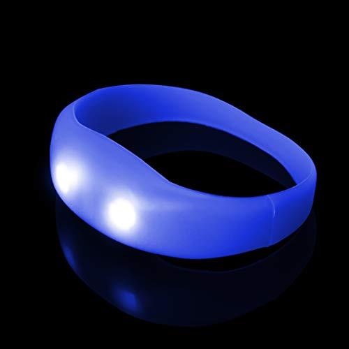 Blau Puls-LED-Armband Großes Beleuchtetes Glühen Bewegungsgesteuertes Glühen-Armband Leuchtet Pulsierende Partyschläge auf blinkende Armbänder Tänze Partys Raves Adult und Walking oder Dark Safety