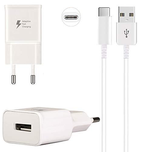 m2 Ladeset Ladegerät Schnell Netzteil + 1m USB-C Kabel Typ-C Datenkabel Ladekabel Adapter Lade-Adapter Netzstecker Home Fast Charger Schnellladegerät weiß kompatibel mit LG G7 ThinQ