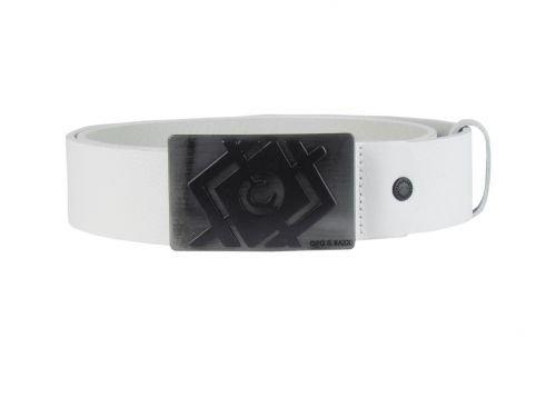 Ledergürtel - mit Metallschnalle - weiß Größe 95 cm