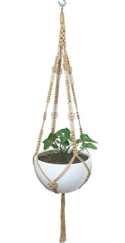 Plante macramé Suspension Pot de fleurs à suspendre 4 pieds macramé Naturel Corde de chanvre Plante Cintre et support pour plantes avec 5,1 cm Anneau en métal et 12 pcs tissé à papillon Longueur 132,1 cm (sans le pot Blanc 12
