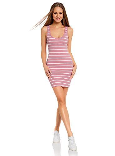 oodji Ultra Damen Jersey-Kleid Gestreift, Rosa, DE 36 / EU 38 / S