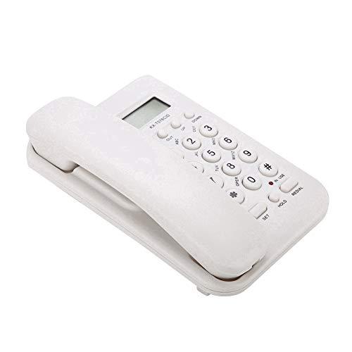 Wendry Teléfono Fijo con Pantalla LCD, Teléfono Hotel, Teléfono Fijo en Casa o Hotel, Teléfono Escritorio, Teléfono de Pared, Teléfono Fijo en Oficina (Blanco)
