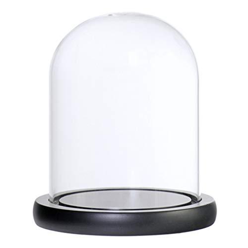Deko Glaskuppel Glassturz Glasglocke mit Holz Basen - Schwarz C ()