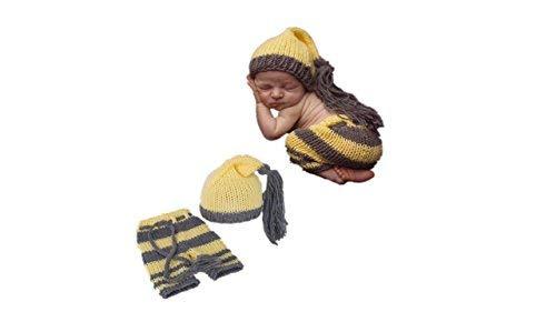 Matissa Baby Kleinkind Neugeborenen Hand gestrickt häkeln Strickmütze Hut Kostüm Baby Fotografie Requisiten Props (Gelb & Grau Outfit) -