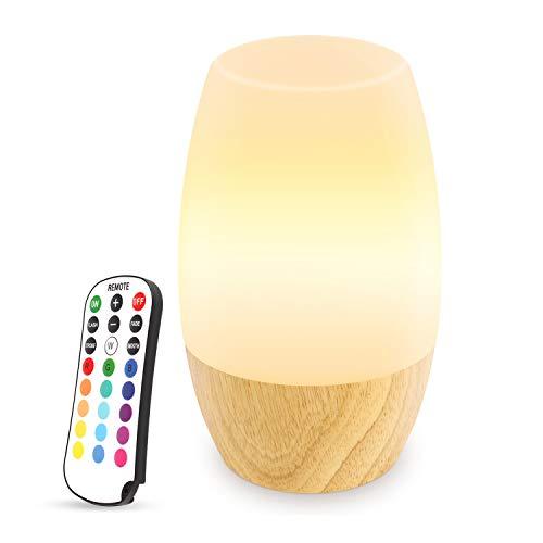 Danolt Veilleuse LED, Lampe de chevet pour la chambre à coucher et le Salon, Abat-jour en silicone souple, Base de bois dur, 4 choix de luminosité et 16 couleurs, Contrôle à distance, Prise EU.