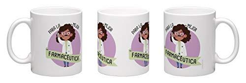 tiendaoink Original y simpática Taza de Porcelana Blanca con asa Decorada con el Mensaje para la Mejor farmacéutica