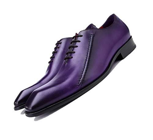 LZMEG Lila Schwarz Wies England Herren Business Schuhe Gentleman Atmungsaktiv Handgefertigte Hochzeitsschuhe Offizielle Purple-40 EU