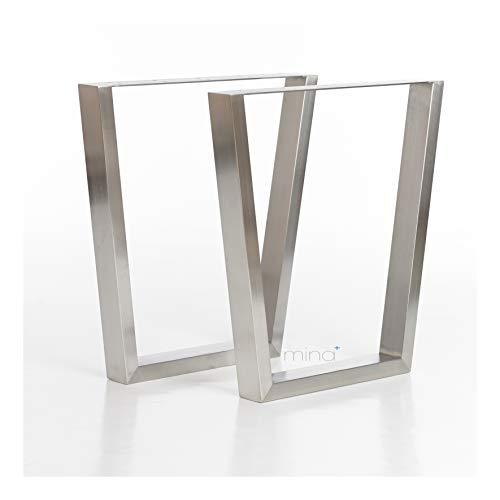 Tischgestell Trapez-R-Form modern I 70 x 30 mm Profil I hochwertiger Edelstahl gebürstet I 72 cm hoch I Indoor & Outdoor I Untergestell für Ess-, Schreib-, Gartentisch etc. I 1 Paar (2 Stück)
