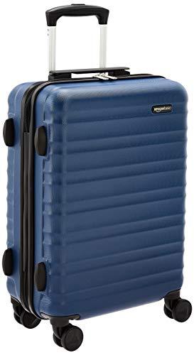 AmazonBasics - Trolley rigido utilizzabile come bagaglio a mano, approvato dalla maggior parte delle compagnie aeree low cost, 55 cm, blu navy