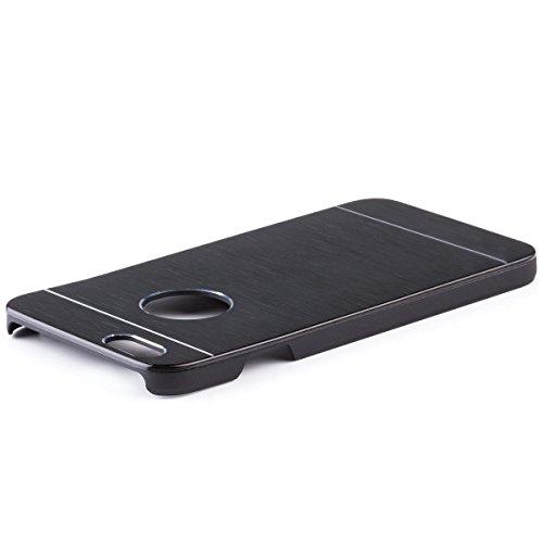 iCues Apple iPhone 6S / 6 |  Alu Case Gebürstet Schwarz | [Display Schutzfolie Inklusive] CNC Aluminium Metall Metallic Schutzhülle Hülle Cover Schutz Black