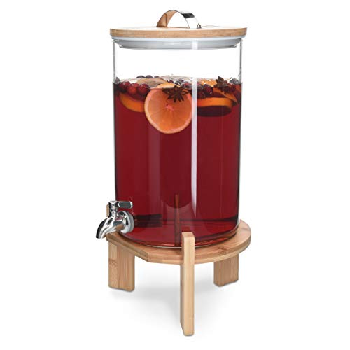 Navaris 7L Getränkespender mit Zapfhahn aus Edelstahl - Glas Wasserspender mit Stand aus Bambus Holz - Spender aus hitzebeständigem Borosilikatglas
