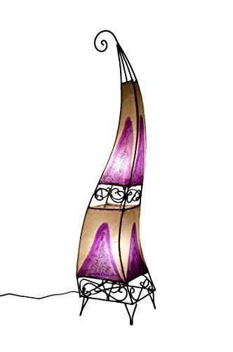 Orientalische Stehlampe Ashoura Beige 100cm Lederlampe Hennalampe Lampe | Marokkanische Große Stehlampen aus Metall, Lampenschirm aus Leder | Orientalische Dekoration aus Marokko, Farbe violett