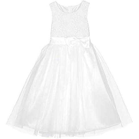 BOBORA ragazze bambino pizzo bianco vestito lungo Velo Abito da sposa elegante principessa partito vestito