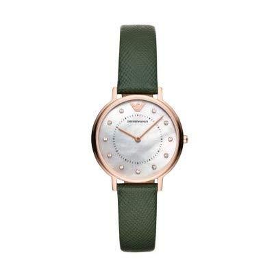 Reloj de Mujer Emporio Armani con Esfera de nácar y Correa de Cuero Verde AR11150