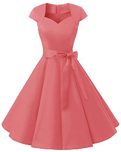 MuaDress 1960 Damen Vintage Kleid Rockabilly 1950er Retro Cocktailkleider Einfarbig Koralle XXL