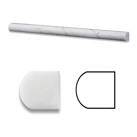 Carrrara White 3/4 X 12 Marble Polished Bullnose Pencil Liner Trim by Marble 'n things