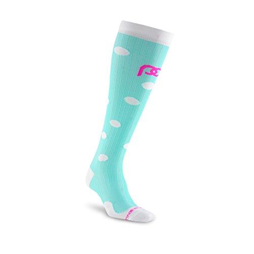 Pro Kompression: Marathon (durchgehender, over-the-calf) Kompression Socken, 1Paar, Mint Dots -