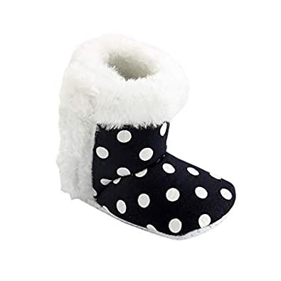 CHIU Fur Polka Booties for 0-6 Month's and 6-12 Month's Baby Girl and Baby Boys