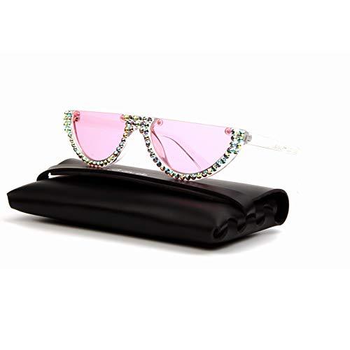 LKVNHP Hohe Qualität Sonnenbrillen Mode Kleine Cat Eye Sonnenbrillen Frauen Rosa Klare Linse Vintage Transparente Steigung Strass Sonnenbrille Weibliche Shadesrosa