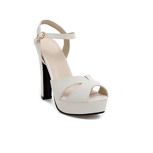 VogueZone009 Donna Tacco Alto Finta Pelle Scamosciata Puro Fibbia  Heeled-Sandals Bianco