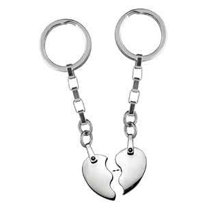 1001 Bijoux - Porte clef acier coeur a partager