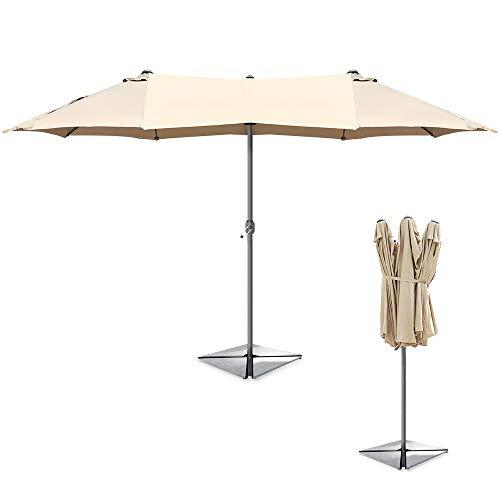 Ziigo Garten Sonnenschirm Doppelseitig 2.7x4.5m Terrassen Sonnenschirm, UV50+ Sonnenschutz, 12 Rippen, Taupe