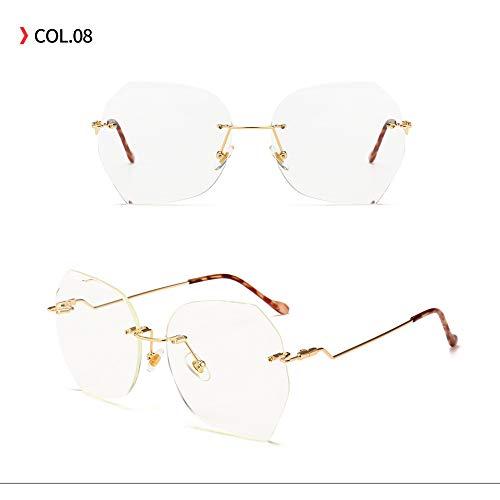 Yangjing-hl Trend Sonnenbrille rahmenlose Polygon Mode Sonnenbrille transparente Farbe