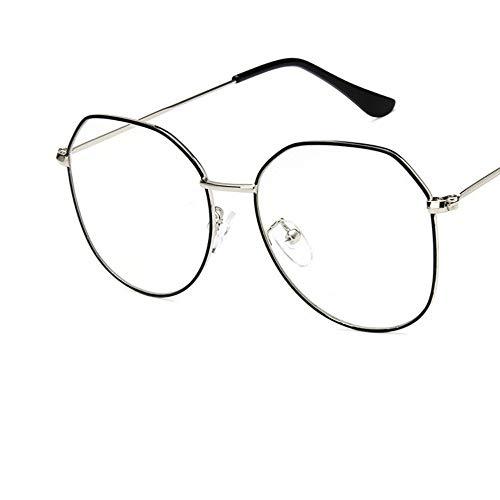 Sonnenbrille Big Silber Schwarz Rahmen Damen Brillengestell Aus Metall Brillen Vintage Klare Optische Gläser Fake Gläser