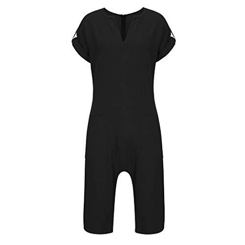 Herren Jumpsuit Yesmile Frühling Sommer Männer Jumpsuit Freizeithemd Leinen und Baumwolle Strand Yoga Top Anzug Trainingsanzug Overall -