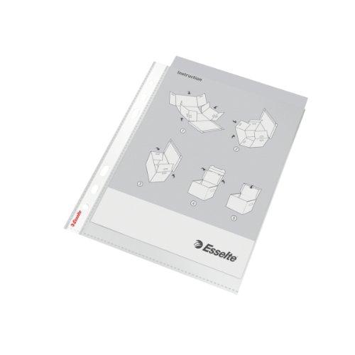 Esselte Leitz 13089 Economy - Fundas de plástico para documentos (DIN A4, 100 unidades, polipropileno), transparentes