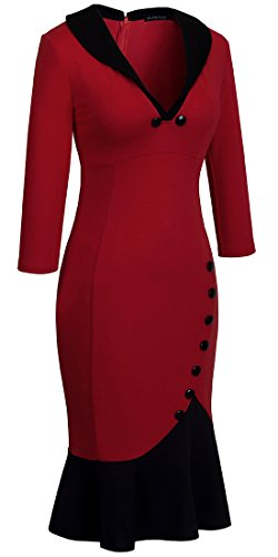 HOMEYEE Damen Elegant V-Ausschnitt Cocktailkleid Party Meerjungfrau Kleid B27 Rot