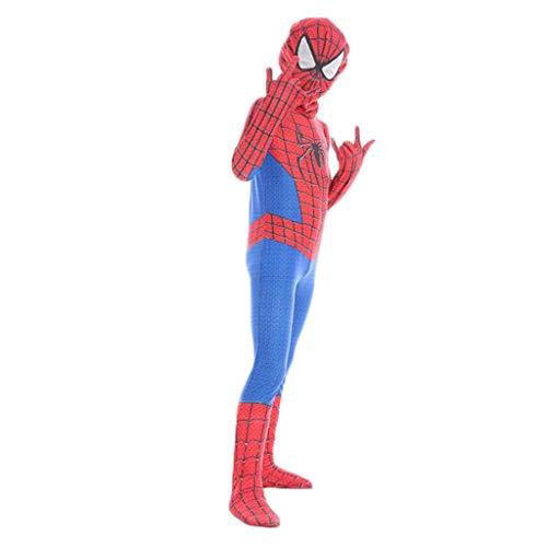 Yujingc Kinder Spider-Man Kostüm Superheld Kostüm Anzug Jungen Cosplay Halloween Kostüm Kostüm Party Spielt Kostüm Film Outfit,Red,M (Kostüme Ideen Für Halloween-superheld)