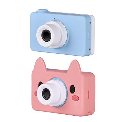 Funkprofi Digitalkamera für Kinder Kinderkamera mit Cartoon Ferkel Schutzhülle Kidizoom Kids Kamera Fotoapparat Full HD 1080P 8 Megapixel 2 Zoll HD Bildschirm Blau