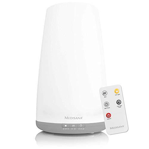 medisana AH 670 Air Humidifier Ultrasonic - Purificador de aire con compartimento de aromas y función de precalentamiento, nebulizador con mando a distancia para salón y dormitorio para aire seco, 1,8