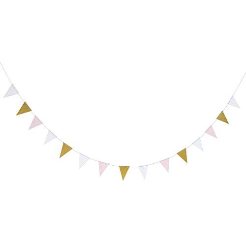 MagiDeal Glitzer Papier Wimpel Girlande Süße Bunting Wimpelkette Wimpeln Dekor für Party - Rosa Weiß Gold