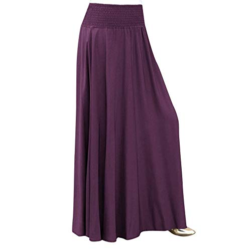 cf4b927cfc04bd Damen Röcke, Vintage Mode Elastische Taille Einfarbig Faltenrock A-line  Lose Lange Röcke Retro