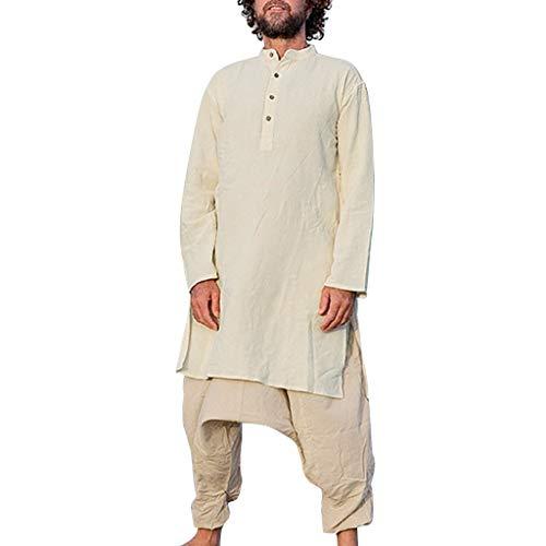 Herren Freizeithemd Leinenhemd leinen Shirt Langärmelig Hemden Männer Casual Long Shirt Vintage Style Leinen Langarm lose T-Shirt Top -