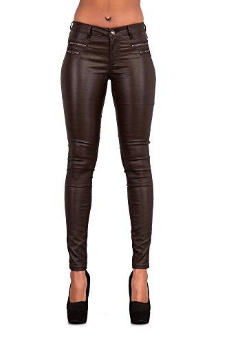 Crazy Lover Mujeres Leggins Cuero Brillante Pantalón Elásticos Skinny Pantalones para Mujer (38, Marrón)