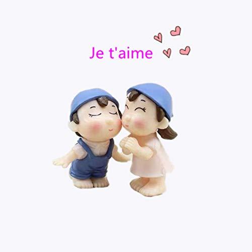 LAMEIDA Jardin Féérique Miniature Mignon Couple poupée Ornement Dollhouse Pot de Fleurs Figurine DIY Craft pour Jardin extérieur Décoration de Maison 1 Paire, Résine, Bleu, 2.2 * 4cm