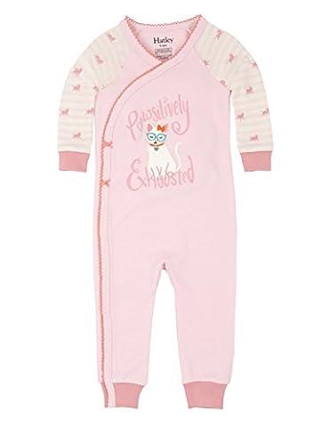 Hatley 100% Organic Cotton Baby Wrap Sleepsuit, Pyjama Bébé Fille, Pink (Cool Cat), 24 Mois