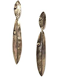 Thingalicious Beige Copper Antique Bronze Leaf Earrings for Women