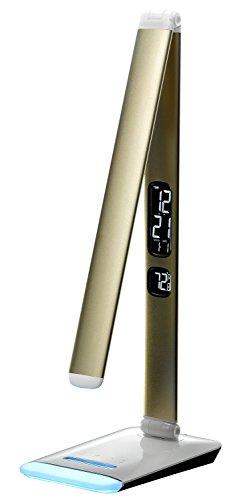 IVSO Lampada LED da tavolo, 12W 5-grade luminosità della lampada LED, con Termometro a cristalli liquidi, sveglia e calendario, di illuminazione con tocco della mano