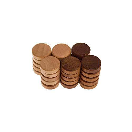 FidgetGear Backgammonsteine (29 x 9 mm), Holz, Buche/Nussbaumfarben gebeizt, gefaste Kanten as picture show One