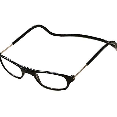 Herren Damen Lesebrille Magnet trennbar schwarz klassische Form und Farben leicht Federbügel Matt Look (1.0, Schwarz)