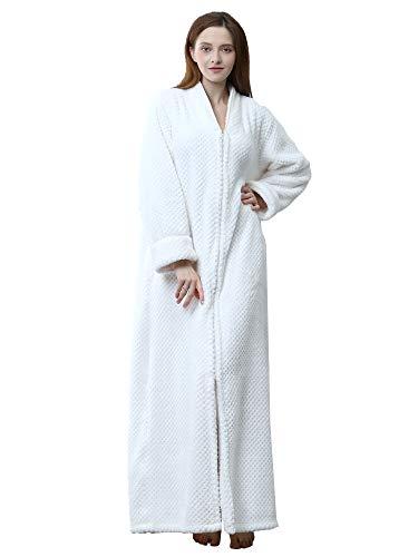 HAINE Frauen Männer Nachtwäsche Plus Size Robe Lange Fleece Mit Kapuze Bademantel Langarm Nachthemd (Weiß Label XL) - Frauen Für Lange Fleece-roben