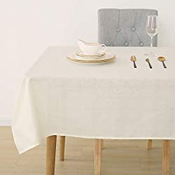 Deconovo Mantel Mesa Rectangular Efecto Lino Impermeable para Salón o Picnic Patrón de Azulejo 140 x 300 cm Beige